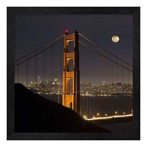 Metaverse Art Golden Gate and Moon Framed Wall Art