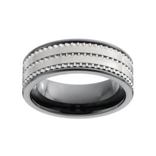 Men's Textured Black Ceramic Ring
