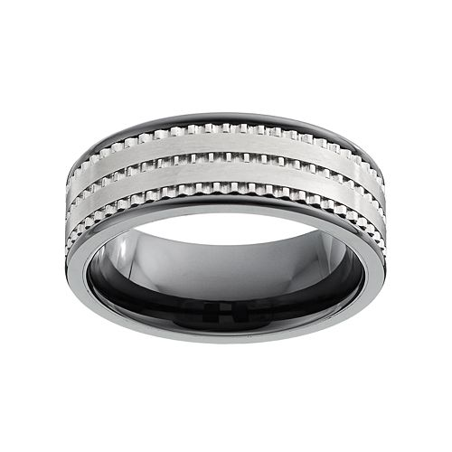 Men's Textured Black Ceramic Ring
