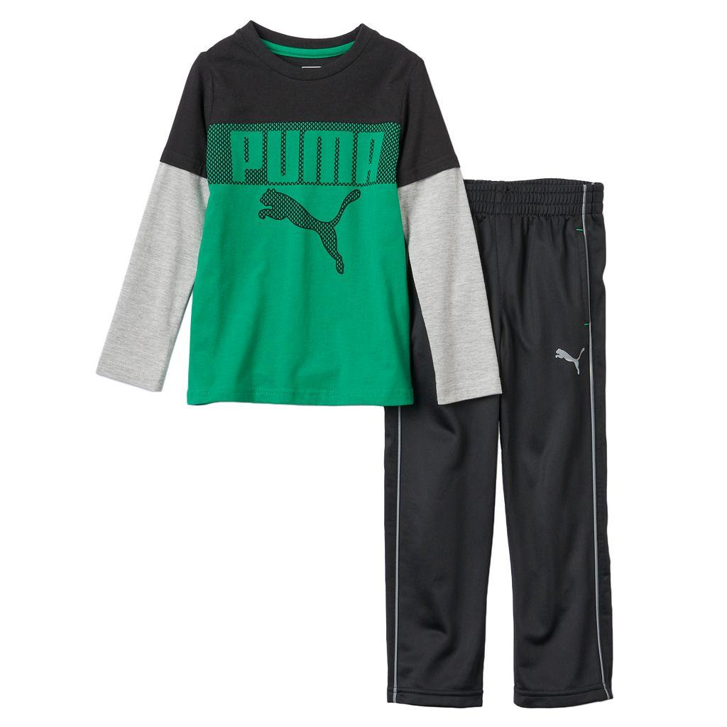 Toddler Boy PUMA Colorblocked Mock-Layer Tee & Pants Set