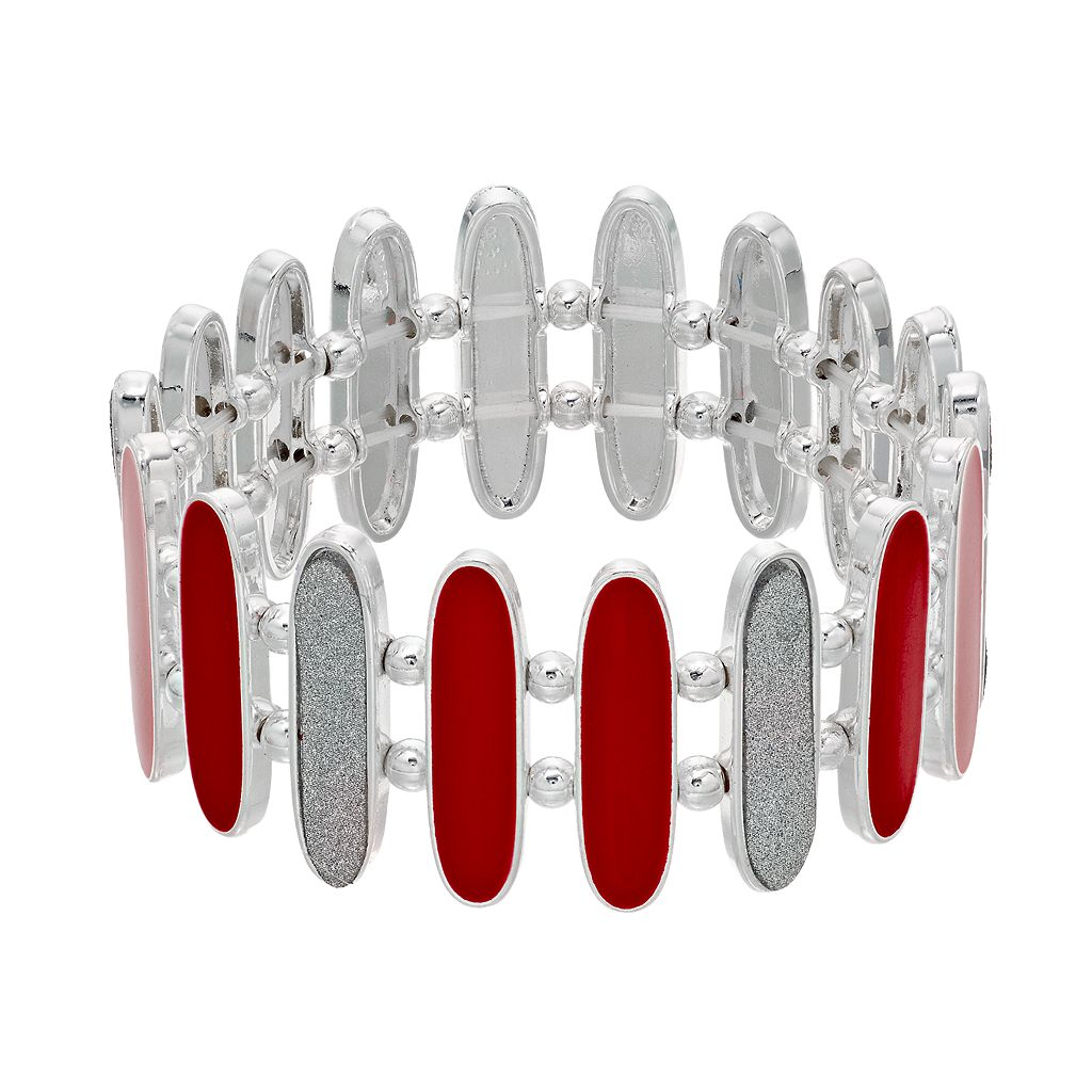 Red & Glittery Link Stretch Bracelet