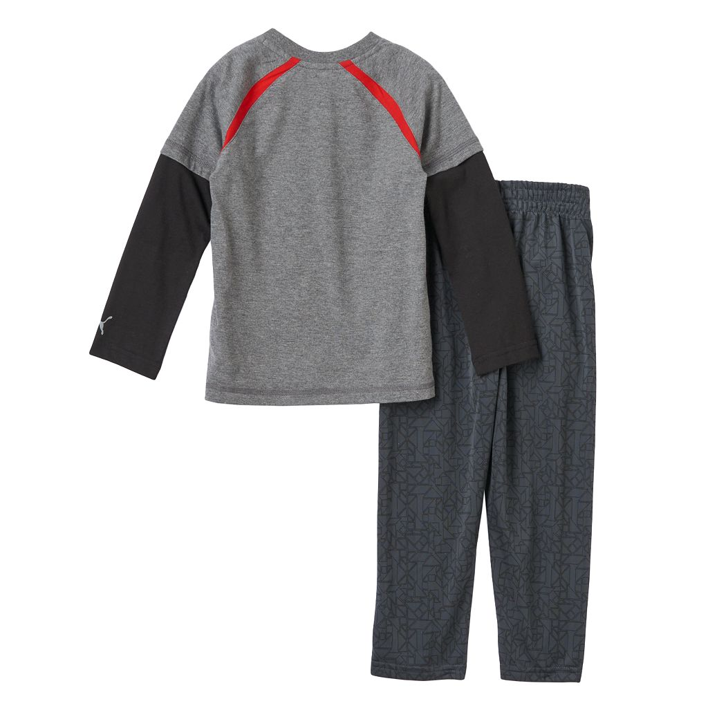 Toddler Boy PUMA Mock-Layer Logo Tee & Pants Set