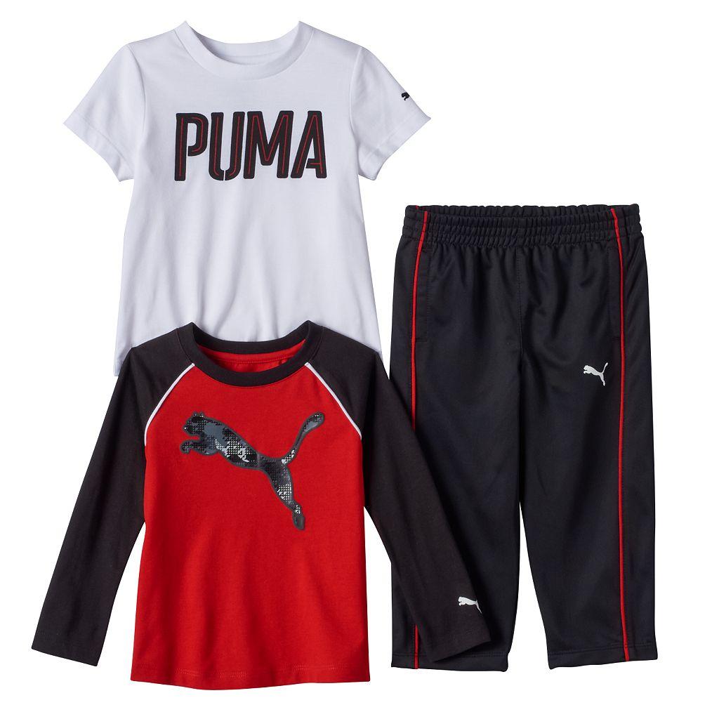 Toddler Boy PUMA Logo Long Sleeve & Short Sleeve Tees & Pants Set