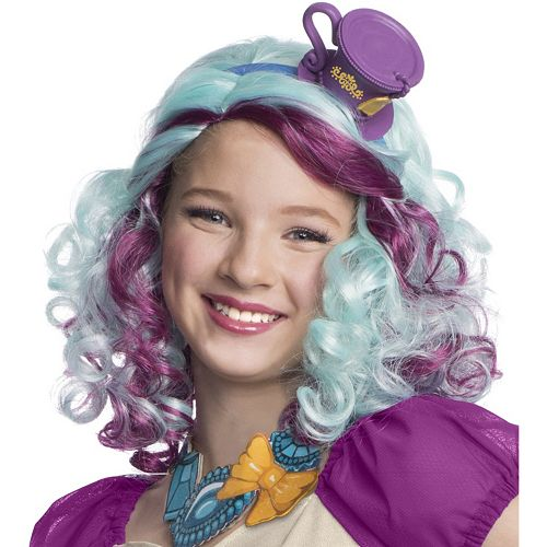 Kids Ever After High Madeline Hatter Costume Wig with Headpiece