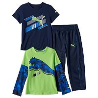 Toddler Boy PUMA Logo Mock-Layered Long Sleeve & Short Sleeve Tees & Pants Set
