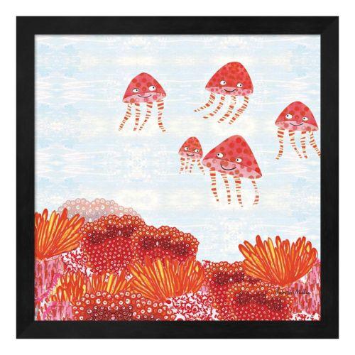Metaverse Art Orange Jelly Fish Framed Wall Art