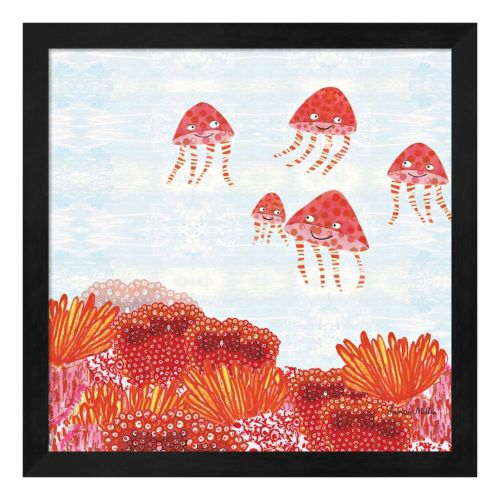 Metaverse Art Orange Jelly Fish Framed Wall Art