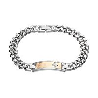 Men's Two Tone Stainless Steel Diamond Accent ID Bracelet