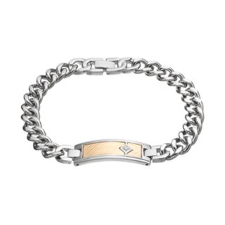 Men's Two Tone Stainless Steel Diamond Accent ID Bracelet
