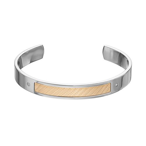 Men's Two Tone Stainless Steel Diamond Accent Cuff Bracelet