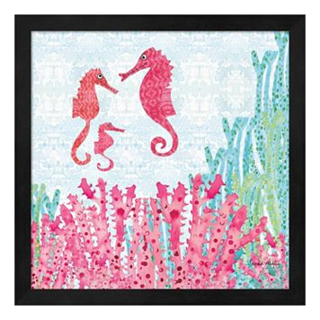 Metaverse Art Seahorses Framed Wall Art