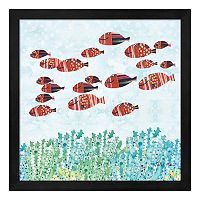 Metaverse Art Red Fish School Framed Wall Art