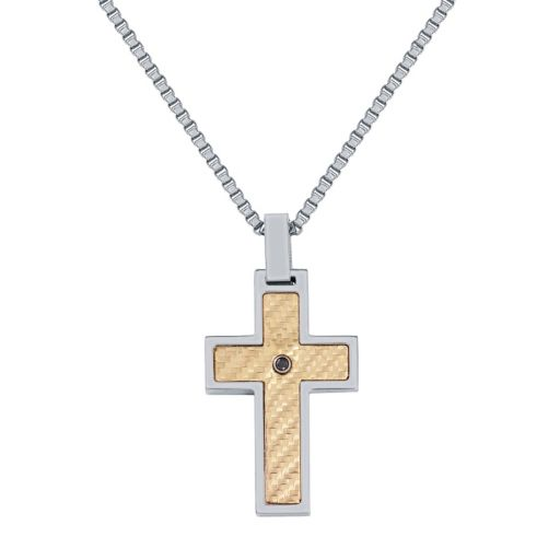 Men's Stainless Steel Black Diamond Accent Cross Pendant