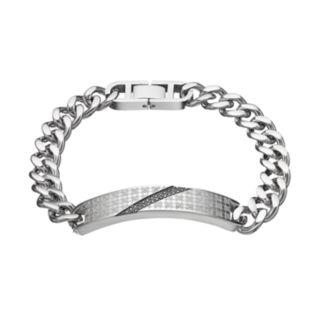 Men's Stainless Steel 1/6 Carat T.W. Black Diamond ID Bracelet