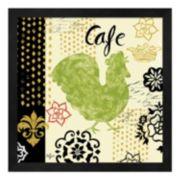"""Metaverse Art """"Cafe"""" Fleur de Lis Rooster Framed Wall Art"""