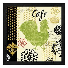 Metaverse Art 'Cafe' Fleur de Lis Rooster Framed Wall Art