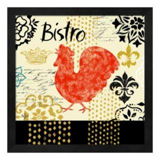 """Metaverse Art """"Bistro"""" Fleur de Lis Rooster Framed Wall Art"""