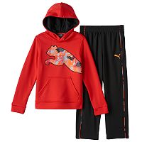 Toddler Boy PUMA Geo-Print Puma Logo Hoodie & Pants Set
