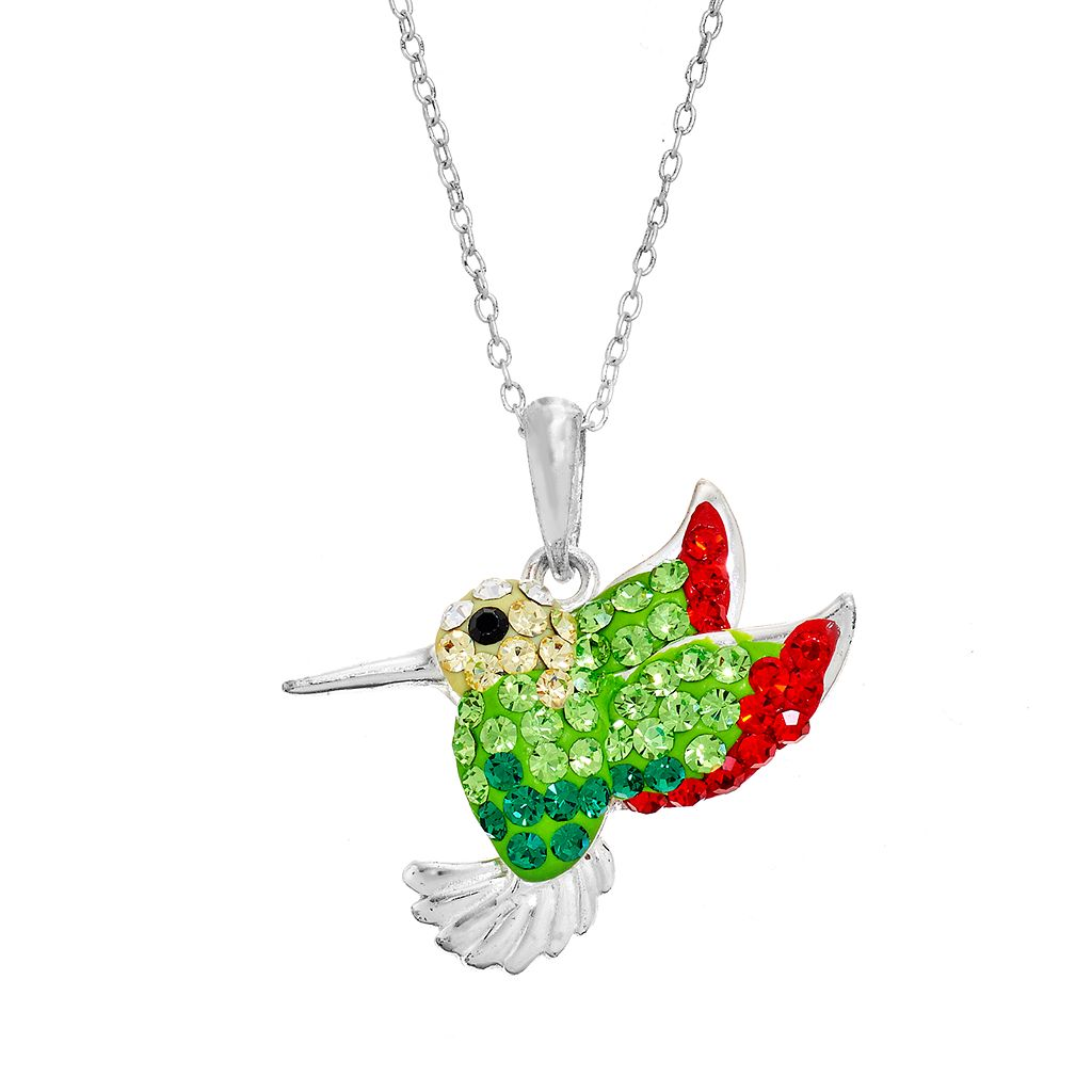 Crystal Hummingbird Pendant Necklace