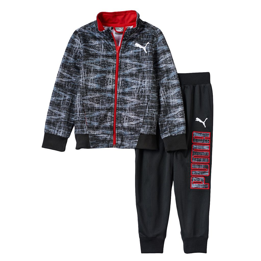 Toddler Boy PUMA Geometric Track Jacket & Logo Jogger Pants Set