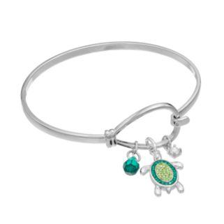 Simulated Emerald & Cubic Zirconia Turtle Charm Bangle Bracelet