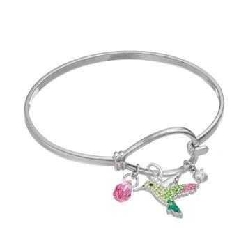 Crystal & Cubic Zirconia Hummingbird Charm Bangle Bracelet