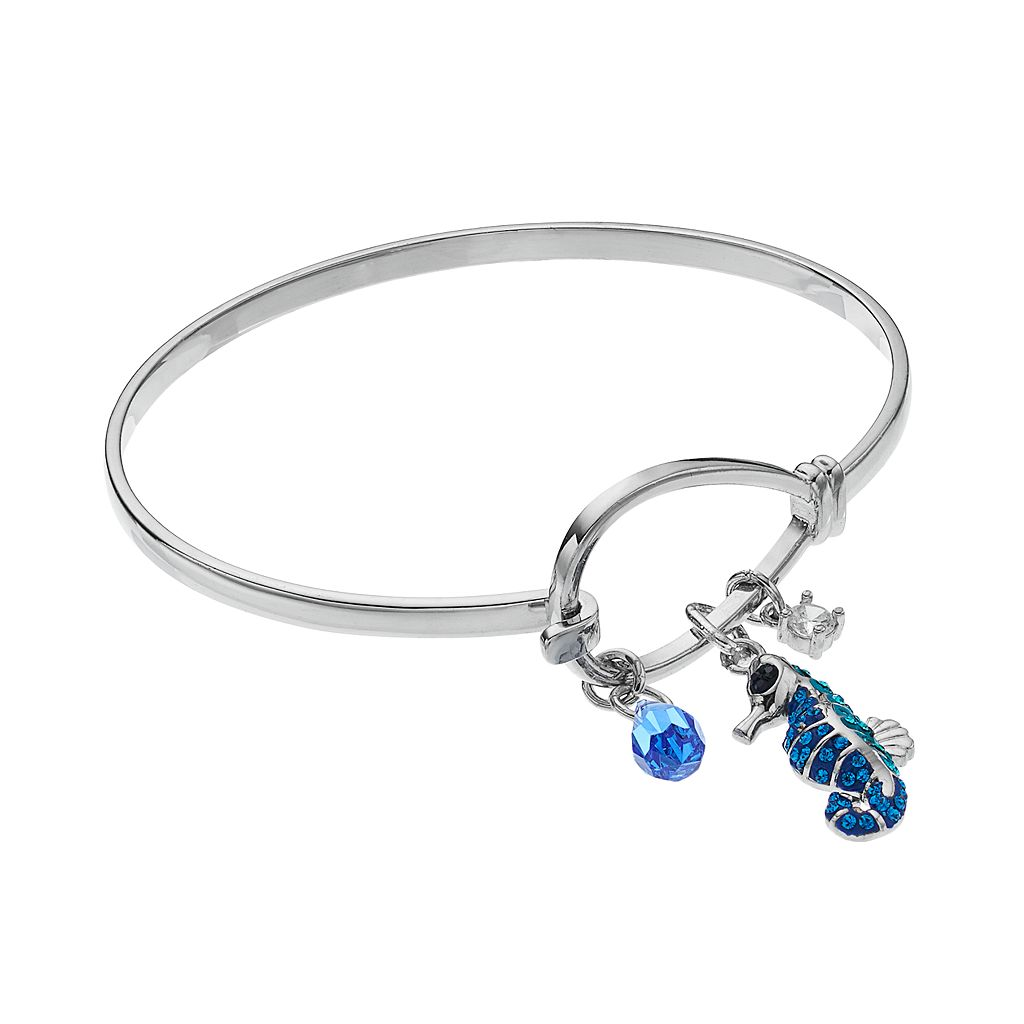 Crystal & Cubic Zirconia Seahorse Charm Bangle Bracelet