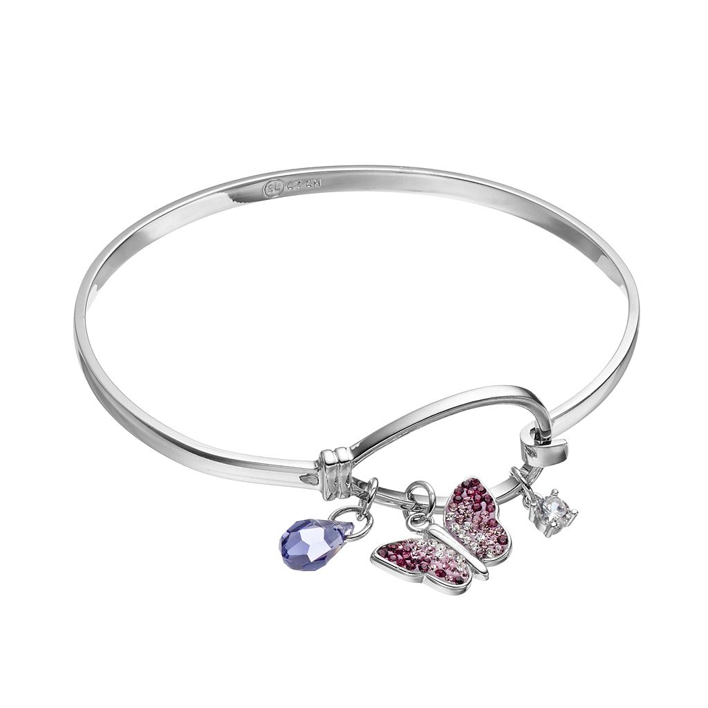 Silver Tone Crystal Butterfly Charm Bangle Bracelet