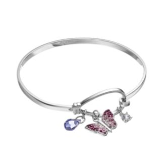 Silver Tone Crystal Butterfly Charm Bangle Bracelet