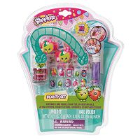 Shopkins Nail Polish, Hair Ties, Nail Stickers, Temporary Tattoos, Body Gems & Lip Gloss Beauty Set