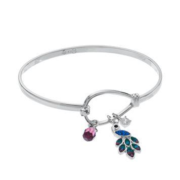 Crystal & Cubic Zirconia Peacock Charm Bangle Bracelet