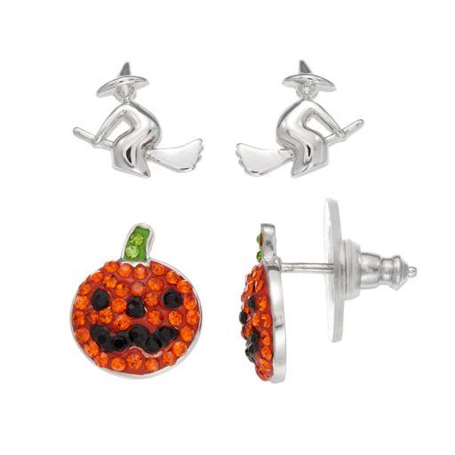 Sterling Silver Crystal Pumpkin & Witch Stud Earrings
