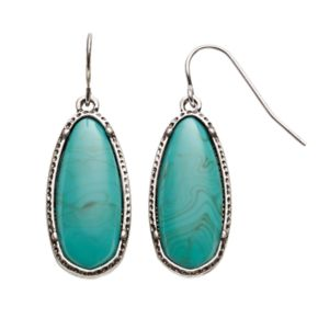 Simulated Turquoise Nickel Free Oval Drop Earrings