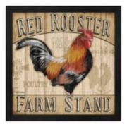 "Metaverse Art ""Red Rooster Farm Stand"" Framed Wall Art"
