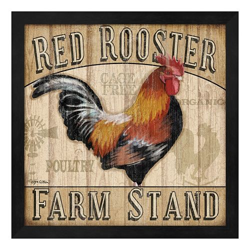 """Metaverse Art """"Red Rooster Farm Stand"""" Framed Wall Art"""