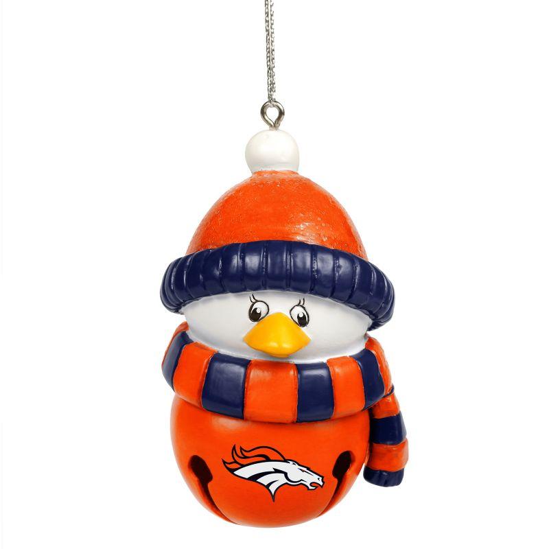 Forever Collectibles Denver Broncos Penguin Bell Christmas Ornament, Multicolor