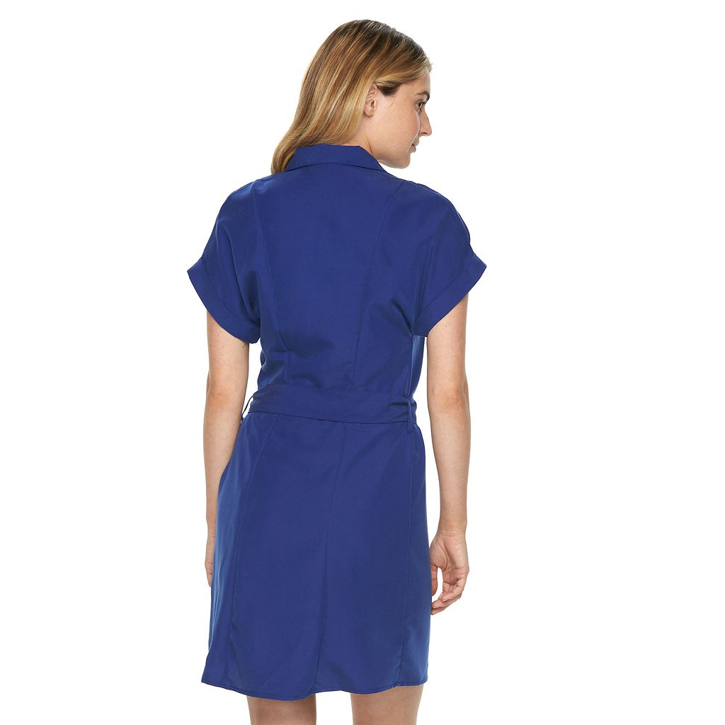 Women's Sharagano Solid Zipper Shirtdress