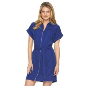 Women's Sharagano Solid Zipper Shirtdress