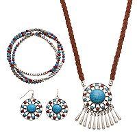 Simulated Turquoise Medallion Fringe Necklace, Stretch Bracelet & Drop Earring Set
