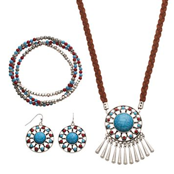 Simulated Turquoise Medallion Fringe Necklace, Stretch Bracelet & Drop Earring Set