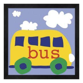 Metaverse Art Yellow School Bus Framed Wall Art