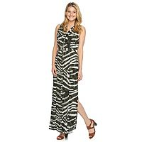 Women's Sharagano Animal-Striped Maxi Shirtdress