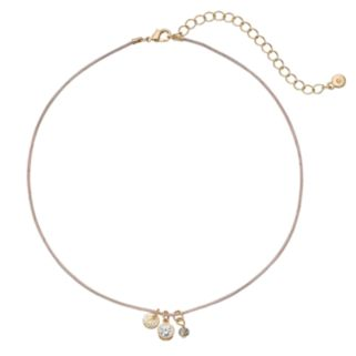 LC Lauren Conrad Textured Disc, Simulated Crystal & Bead Pink Choker Necklace