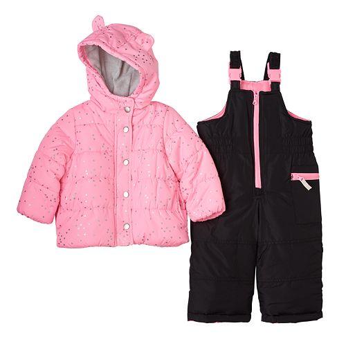 2c9776079 Baby Girl Carter's Solid Puffer Jacket & Fairisle Bib Snow Pants Set