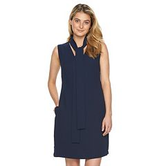 Women's Sharagano Tie-Neck Crepe Sheath Dress