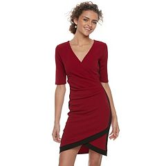 Juniors' Almost Famous Wrap Front Bodycon Dress