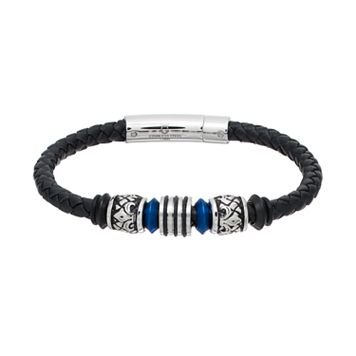 Men's Stainless Steel & Black Leather Beaded Bracelet