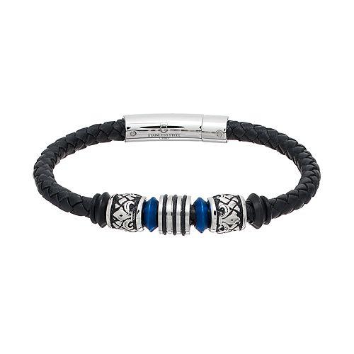 Men's Stainless Steel & Black Leather Beaded Bracelet