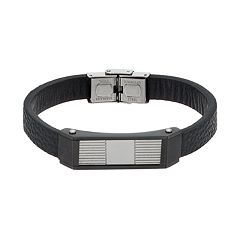 Men's Stainless Steel & Black Leather Bracelet