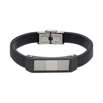 Men's Stainless Steel & Black Leather Bracelet